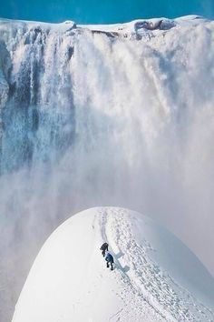 A snow waterfall. Montmorency Falls, Quebec City, Canada