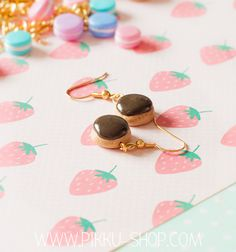 A cute pair of handmade miniature Berliner donuts with chocolate frosting. Kawaii Jewelry, Chocolate Frosting, Donuts, Polymer Clay, Miniatures, Pearl Earrings, Crafty, Pearls, Shop