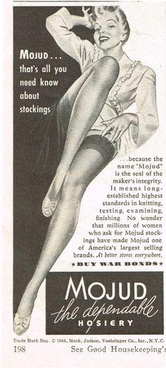 1944 Mojud Hosiery Nylons Sexy Woman Art Vintage Print Ad |