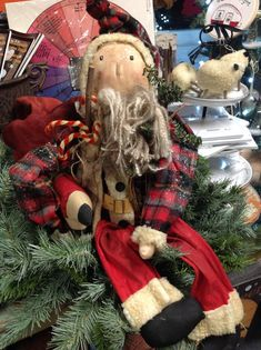 Great Santa with plaid jacket twig tree and sheep Christmas Deco, Christmas Time, Christmas Crafts, Weavers Cloth, Twig Tree, Rug Hooking Patterns, 4th Of July Wreath, Sheep, Craft Supplies