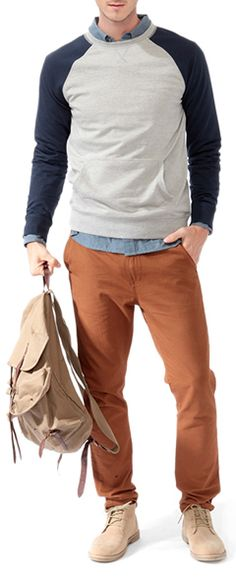 Sporty casual, still well combined.  #men #style color combo