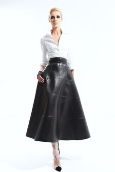 Long leather skirt! A classic look.