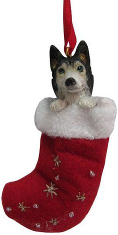"""Siberian Husky Christmas Stocking Ornament with """"Santa's Little Pals"""" Hand Painted and Stitched Detail - http://www.thepuppy.org/siberian-husky-christmas-stocking-ornament-with-santas-little-pals-hand-painted-and-stitched-detail/"""