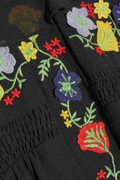 Anna Sui - Embroidered Georgette Mini Dress - Black - US10