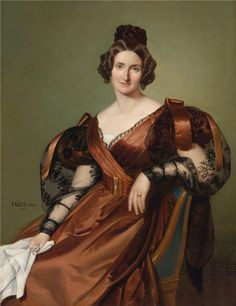 1835 August Alexius Canzi - Portrait of a lady in an elegant dress