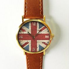 British Flag on Wood Watch,  Great Britain , Vintage Style Watch, US Flag, Leather Watch, Women's watch, Men's Watch, Silver Gold Rose