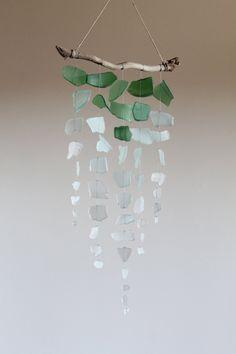 Sea Glass & Driftwood Mobile - Ombre. $54.00, via Etsy.