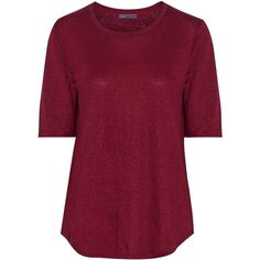 Vince Linen T-shirt (72 CAD) ❤ liked on Polyvore featuring tops, t-shirts, red, red tee, burgundy top, linen t shirt, shirts & tops and burgundy shirt