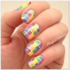 rainbow nail art ideas, using acrylic paint & a tiny paint brush