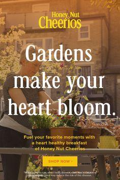 Fuel your favorite activities with a heart healthy breakfast of Honey Nut Cheerios. Garden Drawing, Garden Art, Garden Tools, Container Gardening, Gardening Tips, Heart Healthy Breakfast, Mtf Transformation, Honey Nut Cheerios, Create Your Own Adventure