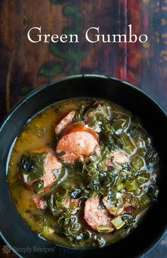 Green Gumbo, or Gumbo Z?Herbes _ is a traditional Louisiana gumbo that is based on loads of greens such as collards, kale, turnip greens Creole Recipes, Cajun Recipes, Soup Recipes, Cooking Recipes, Healthy Recipes, Gumbo Recipes, Cajun Food, Andoille Sausage Recipes, Creole Gumbo Recipe