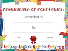 School Certificate with colored washi tape border with a red seal and the alphabet (suitable for school certificates). Graduation Certificate Template, Certificate Of Completion Template, Certificate Templates, Preschool Certificates, Free Printable Certificates, Award Certificates, Pre K Graduation, Kindergarten Graduation, Kindergarten Classroom