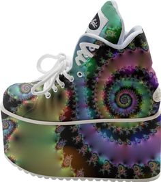 Satin Rainbow, Spiral Curves Through the Cosmos #DianeClancy from Print All Over Me BUFFALO PLATFORM shoes #printalloverme