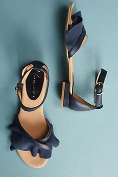 Anthropologie Ruffle Front Sandals