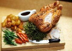 Dolls House Food - Miniature Food Roast Chicken serving board with new potatoes 1/12th Scale available at... https://www.etsy.com/shop/TheMiniatureGourmet?ref=hdr_shop_menu