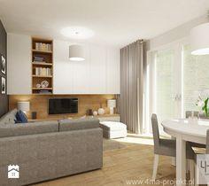 Projekt salonu z aneksem kuchennym 22 m2 i łazienki 5,2 m2. - Salon, styl…