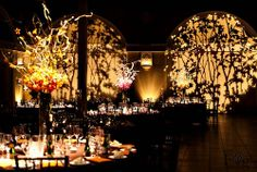 I am not so keen on the table decorations, but the tree gobos really add an ambience to this room. Gobos are excellent scene setters and not too expensive. Wedding Mandap, Tent Wedding, Wedding Events, Wedding Set, Wedding Receptions, Fall Wedding, Wedding Flowers, Event Themes, Event Decor