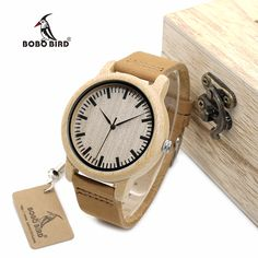 BOBO BIRD WA16 Watch for Men Women Bamboo Wood Quartz Watches With Scale Soft Leather Straps //Price: $29.14 & FREE Shipping //     #hashtag1