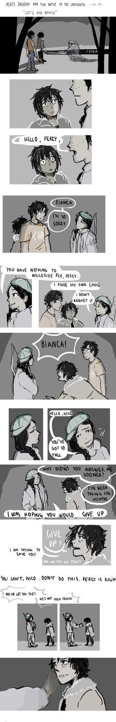 Heartbreaking moment in pjo: That one time dead Bianca accepted to talk to his little brother only bc Percy was there.