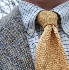 Donegal tweed jacket for Kevin & Howlin, Dublin; L.L. Bean tattersall shirt; Diva silk tie (made in Italy).