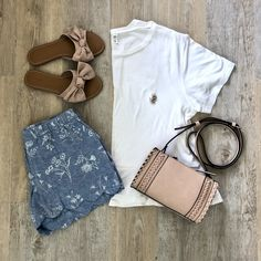 {Simple & Easy} // Sometimes the most simple outfits are the best outfits. This tee is on sale for $15 and comes in a ton of colors - the shorts and sandals are less than $25 and perfect for summer. <pearlsandponiesblog.com> #ShopStyle #shopthelook #SpringStyle #SummerStyle #MyShopStyle #Flatlay #Flatlaystyle #OldNavy #OldNavyStyle #Nordstrom #BeachReady #SpringFashion #SummerFashion #CasualOutfit #CasualFashion #Ontheblog #IGstyle Instastyle