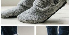 Love these gorgeous simple button boots slippers knitting pattern! I like… Love these gorgeous simple button boots slippers Knit Slippers Free Pattern, Knitted Slippers, Slipper Boots, 1 Button, Shaggy, Knitting Patterns, Crochet, Simple, Blog