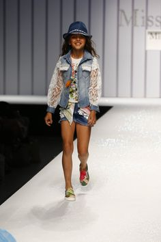 Distressed decorated denim festival style at Miss Grant for kidswear spring 2016