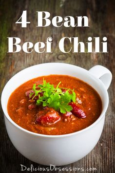 Four Bean Grass-fed Beef Chili Recipe // DeliciousObsessions.com