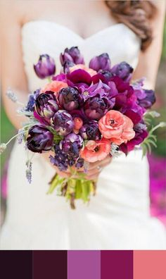 Purple & Coral Wedding Bouquet Photography: Caroline Tran