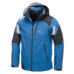 Spyder, Leader ski jacket, men, Electric blue - Polar grey - White This flashy ski jacket lets you see Spyders lines, precision, speed and design at the blink of an eye! This Spyder Leader ski jacket has a unique character with its colour and line play. www.skiwebshop.com