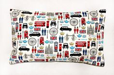 London cushion cover UK bus taxi union jack 12 by LittleJoobieBoo, £13.90