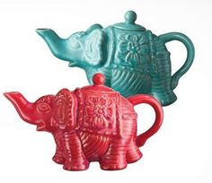 Elephant teapots, as if you couldn't tell