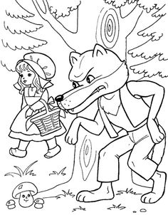 Tales of Red Riding Hood Coloring Pages. Little Red Riding Hood is a famous tale of European origin that has had many different versions. Angel Coloring Pages, Cartoon Coloring Pages, Disney Coloring Pages, Colouring Pages, Coloring Books, Red Riding Hood Wolf, Red Riding Hood Party, Free Coloring Sheets, Coloring Pages For Kids