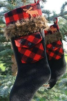 Pair of Red & Black Plaid Fur-Trimmed Rustic Christmas Stockings With Rusty Tin Moose by terri