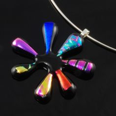 #NovNexus Funky Dichroic Glass Daisy #handmade by Blue Daisy Glass at #Folksy