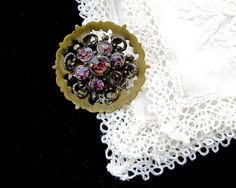 Vintage Amethyst Glass Brooch • Brass Filigree Faceted Purple Glass Stones • Art Nouveau Victorian Costume Pin by KatesChockfullAttic on Etsy