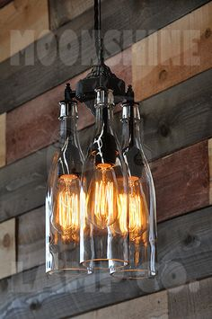 Recycled Bottle Chandelier The Marquis Clear by MoonshineLamp