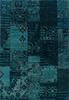 Teal Blue Transitional Blocks Rug            tjn