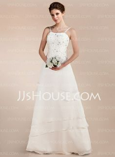 Wedding Dresses - $146.99 - A-Line/Princess Sweetheart Floor-Length Chiffon Satin Wedding Dress With Lace Beadwork (002011644) http://jjshouse.com/A-Line-Princess-Sweetheart-Floor-Length-Chiffon-Satin-Wedding-Dress-With-Lace-Beadwork-002011644-g11644
