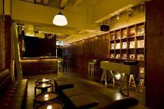 Both styles of table - Rewind bar lounge Takenouchi Webb Singapore