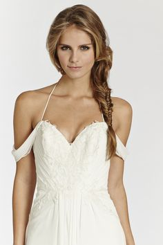 Style * AV7507 * Bridal Gowns, Wedding Dresses Ti Adora Spring 2015 Collection by Alvina Valenta Shown Ivory Crinkle Chiffon soft A-line bridal. Delicate beaded and embroidered bodice and hip. Spaghetti strap halter neckline with draped crinkle chiffon flowing over shoulders (close up)