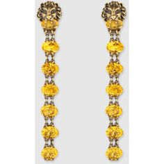 Gucci Lion Head Earrings With Crystals (27.645.355 VND) ❤ liked on Polyvore featuring jewelry, earrings, gucci, silver & fashion jewelry, swarovski crystal earrings, lion head jewelry, yellow earrings, gucci earrings and yellow jewelry