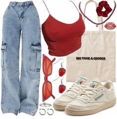 Cute Swag Outfits, Indie Outfits, Teen Fashion Outfits, Retro Outfits, Look Fashion, Stylish Outfits, Girl Outfits, Polyvore Outfits, Aesthetic Clothes