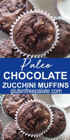 Grain-Free Chocolate Zucchini Muffins that are gluten-free, dairy-free, and Paleo friendly. These paleo chocolate zucchini muffins are tender, chocolaty, and perfect for breakfast or snack. Chocolate Zucchini Muffins, Paleo Chocolate, Dairy Free Zucchini Muffins, Healthy Muffins, Paleo Breakfast Casserole, Paleo Breakfast Muffin, Paleo Breakfast Cookies, Keto Casserole, Casserole Recipes