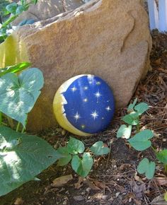 Flat-surfaced stone with classic moon and star imagery. Add some celestial art to your garden - the sky is the limit!    Approx Measurements:  5