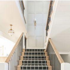 Modern farmhouse stairway and hallway design.  #lightingdesign #lighting #stairway #staircase #hallway #homedecor #homeimprovement #interiordesign #falldecor