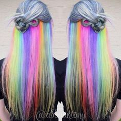 I'm pretty much in love with this gorgeous rainbowness!  Hair by: @abbyantony  #mermaidians