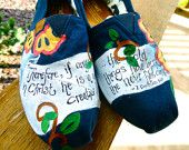 Custom hand painted TOMS, Believe in Christmas.