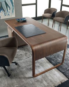 """wOODY desk Materials:  solid walnut + Italian leather Dimensions:  75""""W x 35.5""""D x 30""""H Options:  *Italian leathers + optional leather writing pad"""