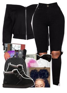 All black Affair 🤯🤸🏽 ♀️ is part of Uggs outfit - A fashion look from November 2017 by hoodxprincess featuring UGG Australia Swag Outfits For Girls, Teenage Girl Outfits, Chill Outfits, Cute Swag Outfits, Cute Comfy Outfits, Dope Outfits, Teen Fashion Outfits, Trendy Outfits, Preteen Fashion